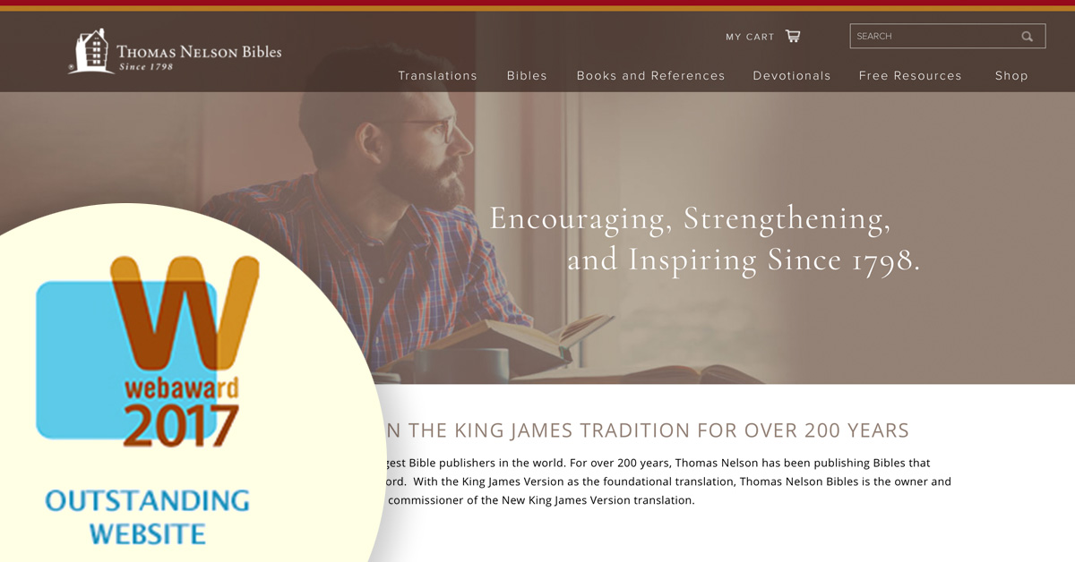 Thomas Nelson Bibles Website with 2017 WebAward graphic