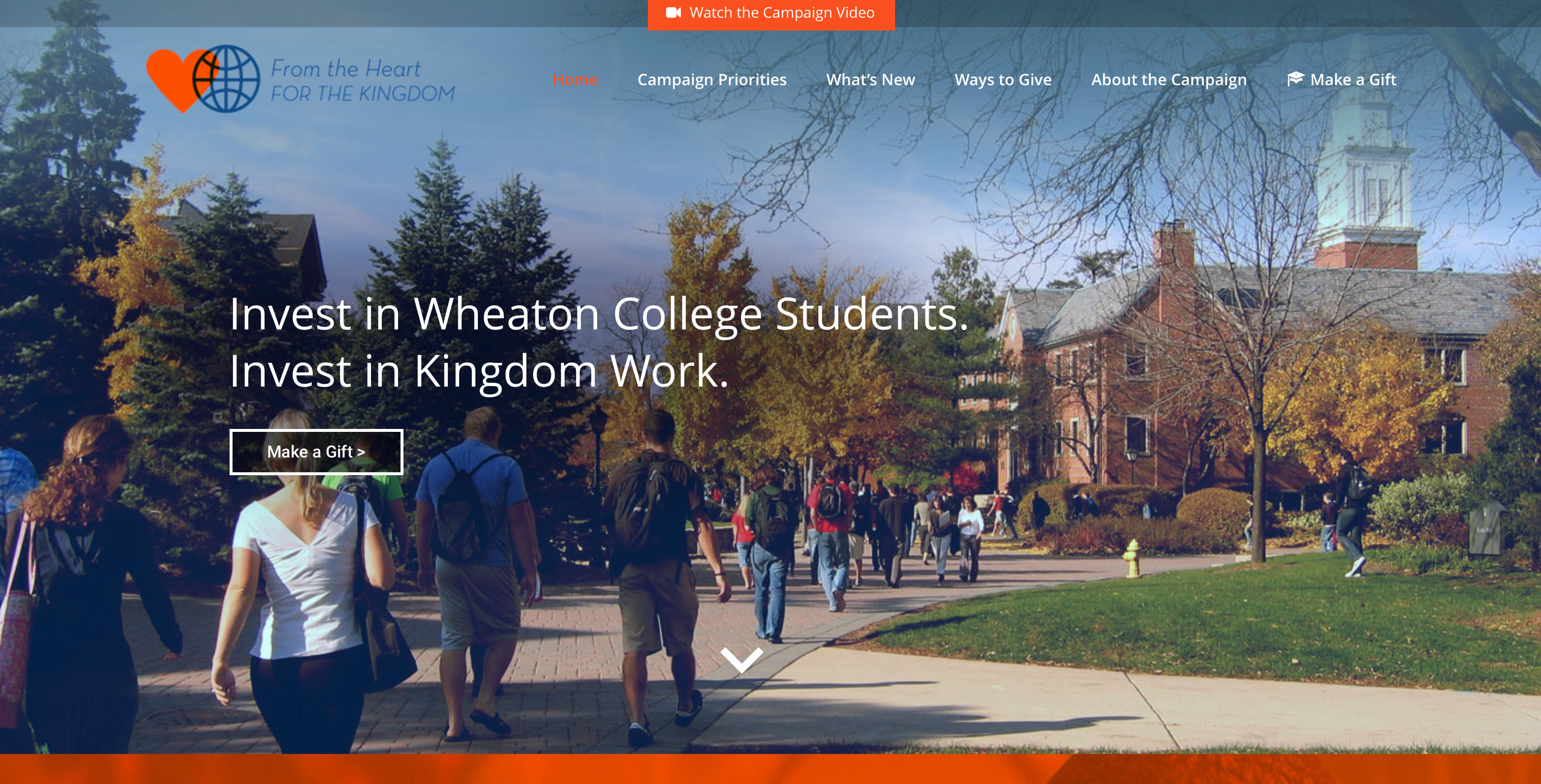 Wheaton College web home page banner
