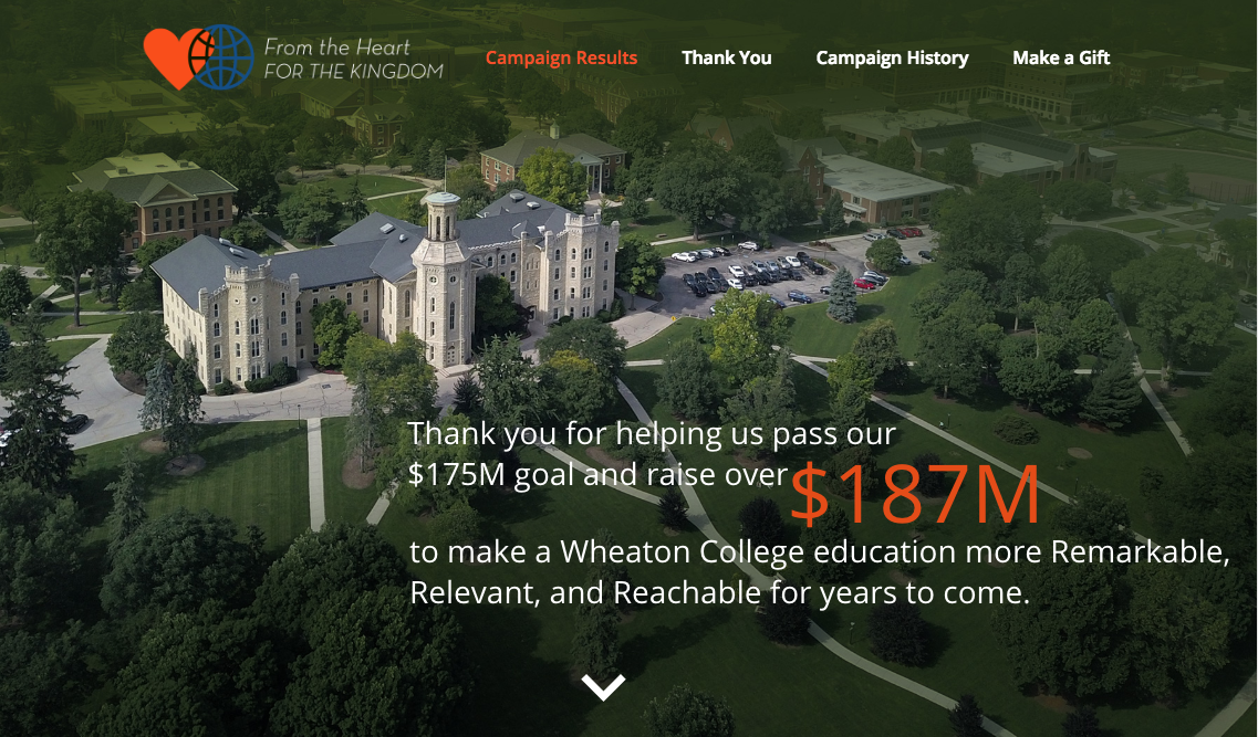 Wheaton College campaign wrap up website