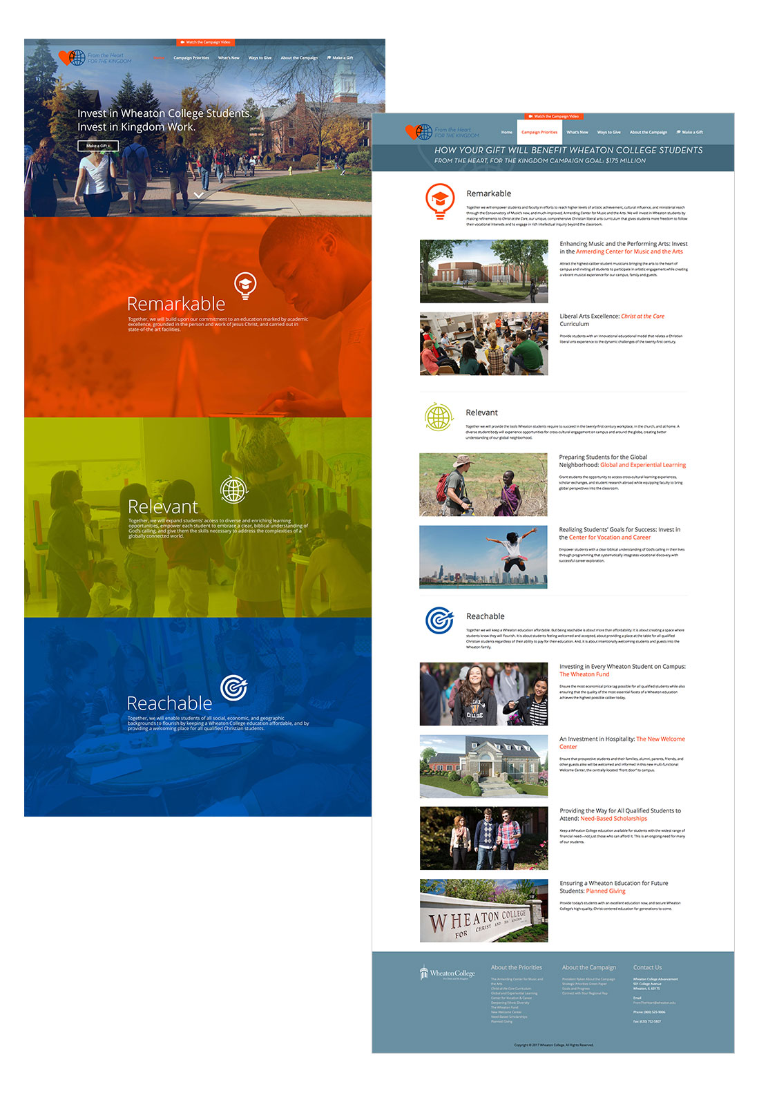 Wheaton College website design Home and Interior page