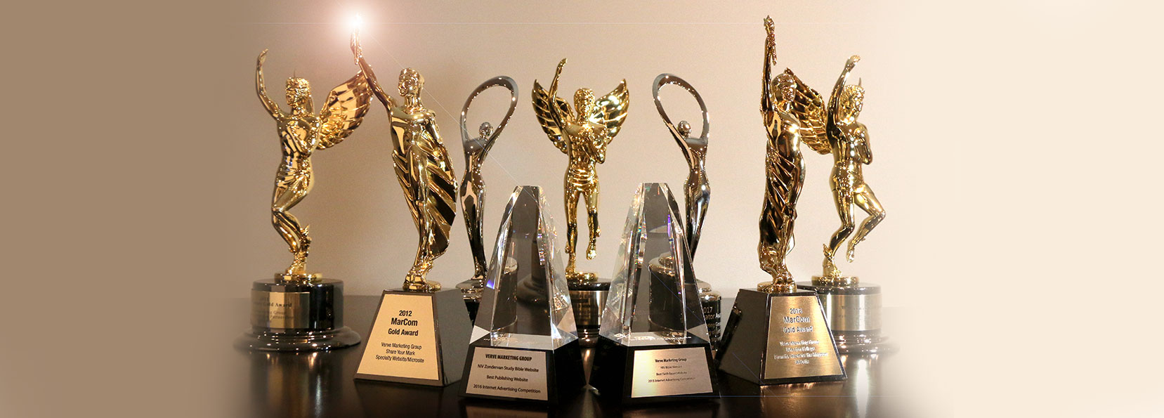 Verve Marketing Group award trophies