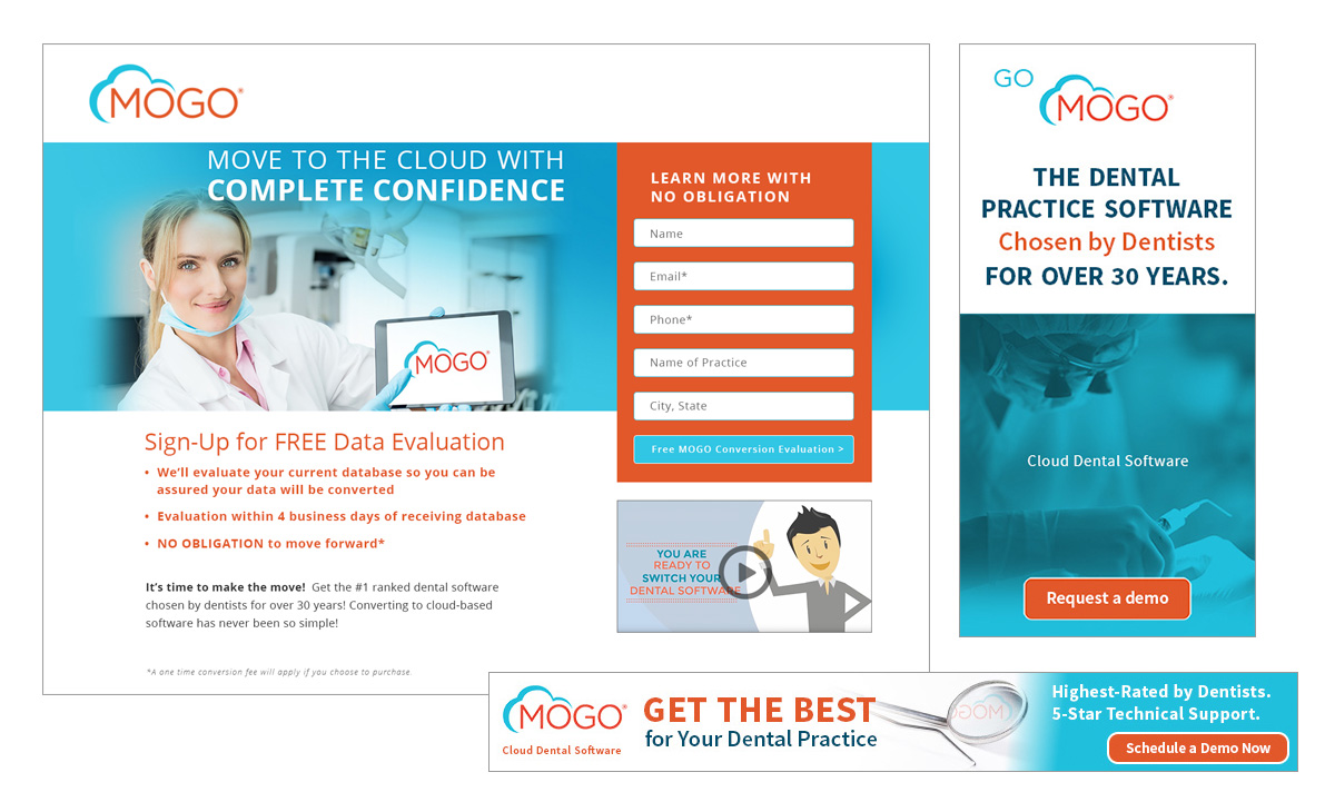 MOGO landing page and remarketing ad creative