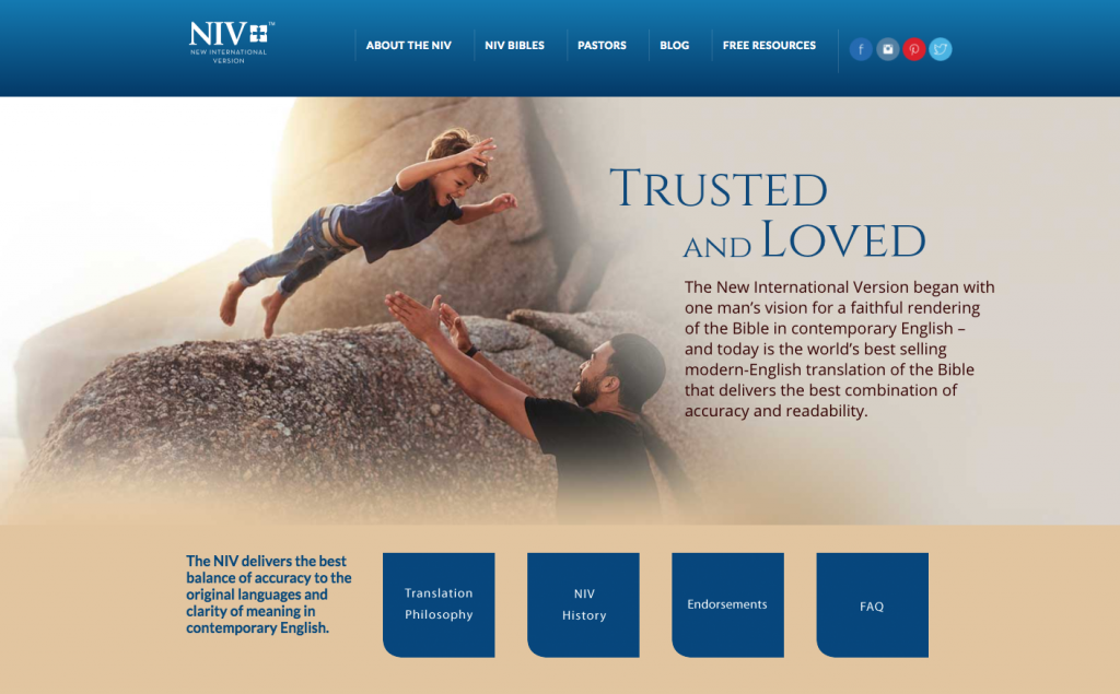 NIV website design image