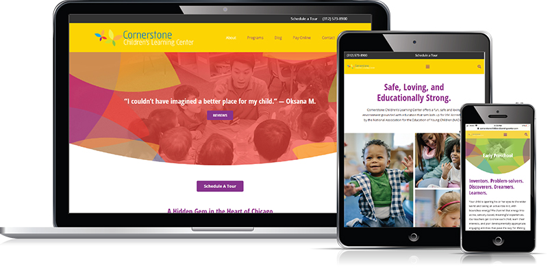 Cornerstone Children's Learning Center website designed by Verve Marketing Group