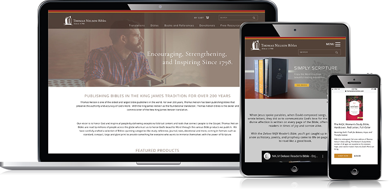 Thomas Nelson Bibles website designed by Verve Marketing Group