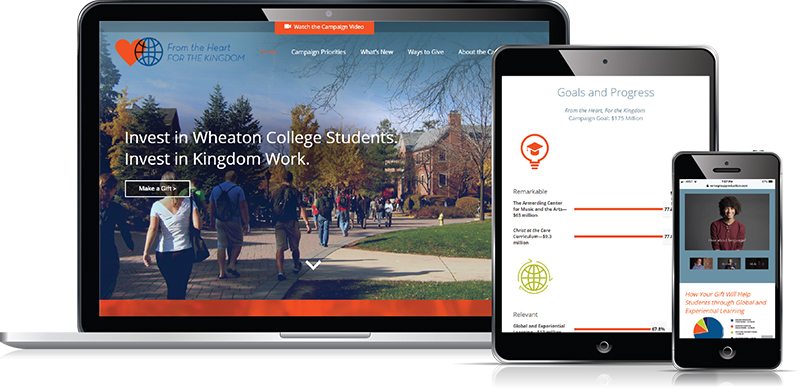 Wheaton College capital campaign website designed by Verve Marketing Group