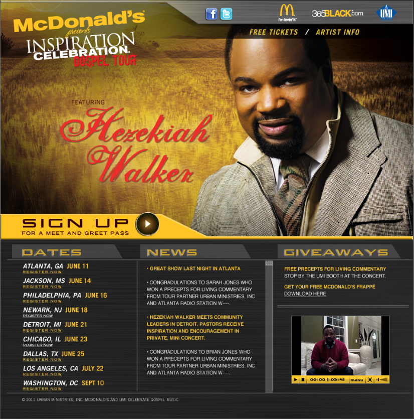 McDonald's Inspiration Celebration Gospel Tour website