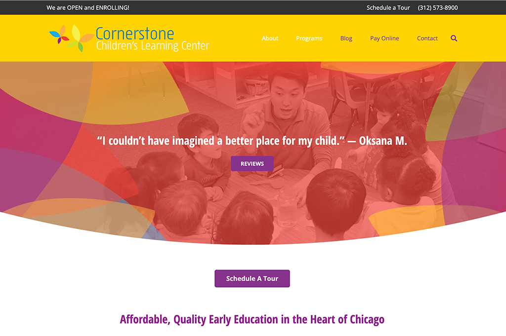 Cornerstone Children's Learning Center Website ome page
